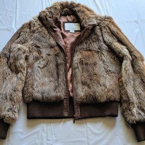 Wilson's Leather Medium Rabbit Fur Bomber Jacket